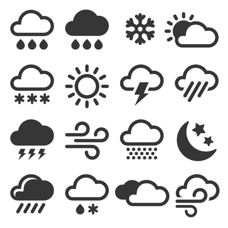 Weather Icons Set on White Background. Vector Illustration Ilustrace