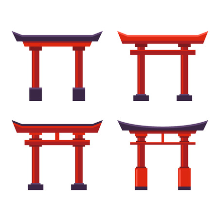 Japanese Gate Icons Set on White Background. Vector illustration Vettoriali