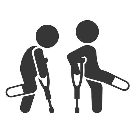 Homme blessé avec jeu d'icônes de béquilles. Illustration vectorielle