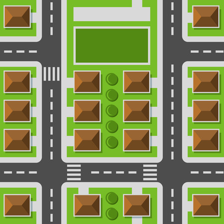 City Top View. Town Map Seamless Pattern. Vector Illustration