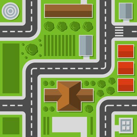 Vista superior de la ciudad. Mapa de la ciudad de patrones sin fisuras. Ilustración vectorial