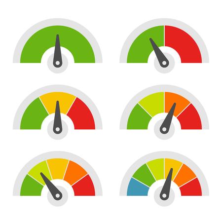 Conjunto de iconos de medidor de velocidad sobre fondo blanco. Ilustración vectorial