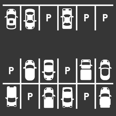 Vue De Dessus Du Parking. Illustration vectorielle