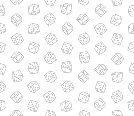 Gambling Dices Seamless Pattern on White Background. Vector Illustration