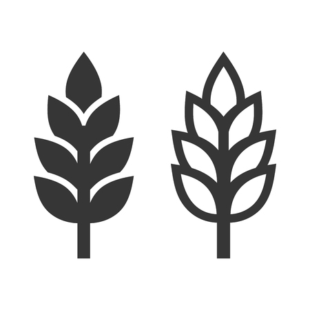 Wheat Ear Spica Icon Set on White Background. Vector illustration