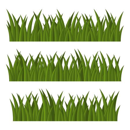 Green Grass Borders Set on White Background. Vector illustration