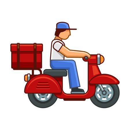 Men on Bike Deliver Package Icon. Vector illustration