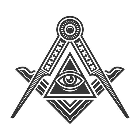 Logo d'icône emblème de la franc-maçonnerie maçonnique. Vecteur Logo