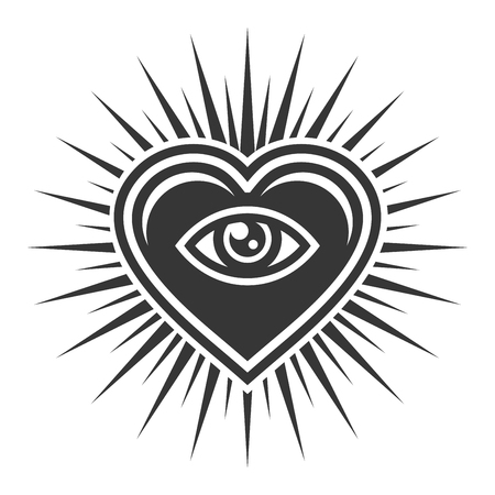 Eye Inside Heart Sign. Masonic Icon on White Background. Vector illustration