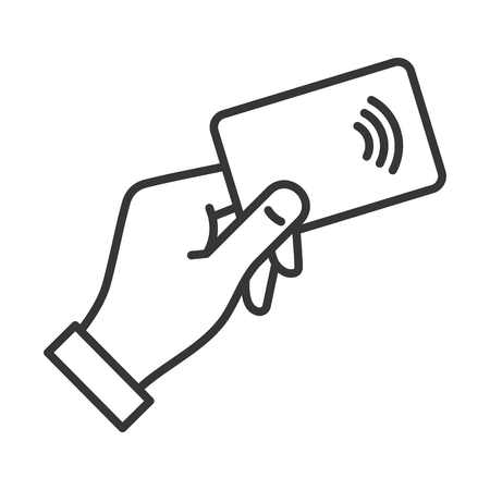 Hand with NFC Payment Credit Card Icon. Vector illustration Illustration