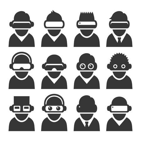 Ensemble d'avatars de réalité virtuelle avec casque VR. Vecteur