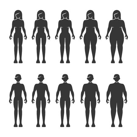 Figure del corpo di uomini e donne magre, normali, grasse, in sovrappeso. Illustrazione vettoriale Vettoriali