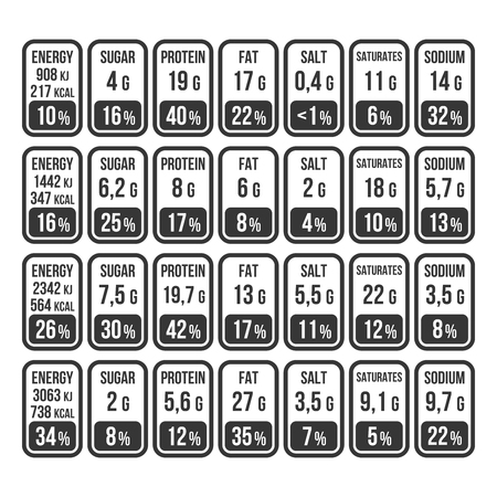 Nutrition Facts Information Label Set on White Background. Vector