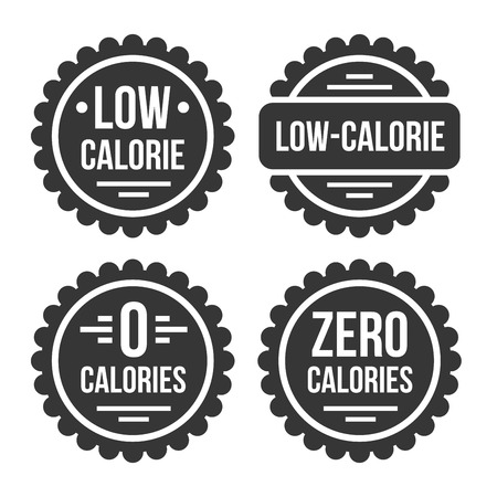 Low or Zero Calorie Product Label Set on White Background. Vector Illustration