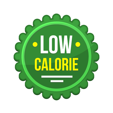 Green Low-Calorie Product Label on White Background. Vector illustration