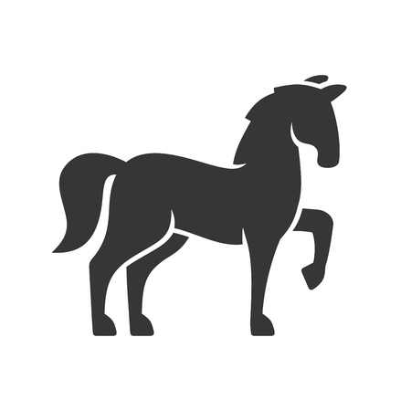 Horse Black Silhouette Icon on White Background. Vector illustration