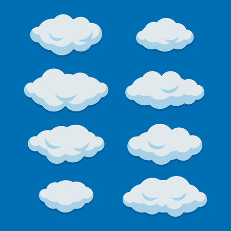 Cartoon Clouds Set on Blue Sky Background. Vector illustration