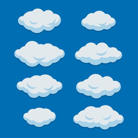 Nuages de dessin animé sur fond de ciel bleu. Illustration vectorielle