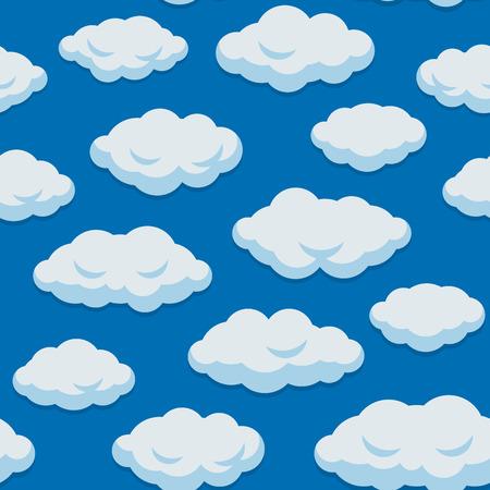 Patrón de nubes sin fisuras con fondo de cielo azul. Ilustración vectorial