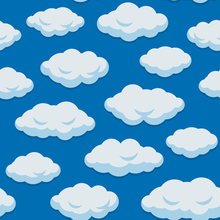 Seamless Cloud Pattern With Blue Sky Background. Vector illustration
