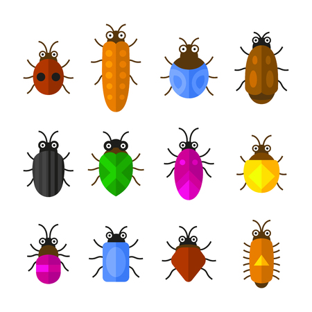 Bugs and Insects Icons Set. Cute Cartoon Style. Vector Illustration