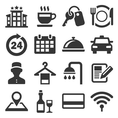 Ensemble d'icônes liées au service de chambre d'hôtel. Vecteur Vecteurs
