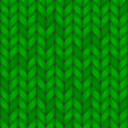 Modèle Sans Couture Tricoté Vert. Illustration de fond de laine vectorielle