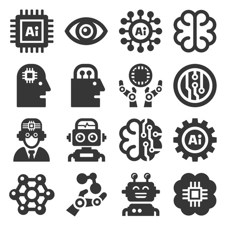 Artificial Intelligence AI Icons Set on White Background. Vector