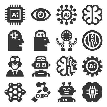 Künstliche Intelligenz AI Icons Set auf weißem Hintergrund. Vektor