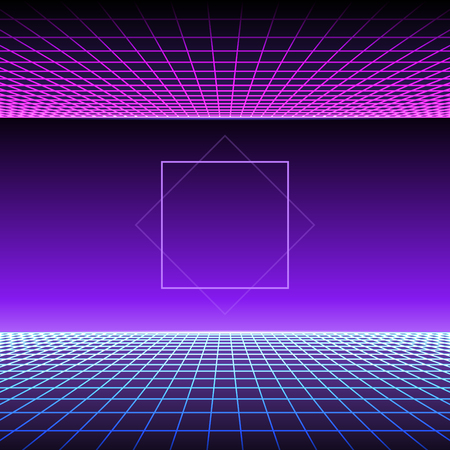 Retro Neon Light Synthwave Sci-fi Background. Vector 向量圖像