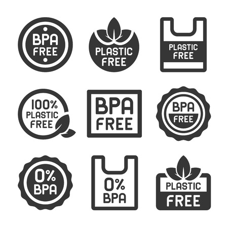 BPA Plastic Free Icons Set on White Background. Vector