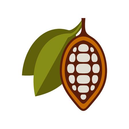 Chocolate Cocoa Beans Icon on White Background. Vector illustration Standard-Bild - 125196583