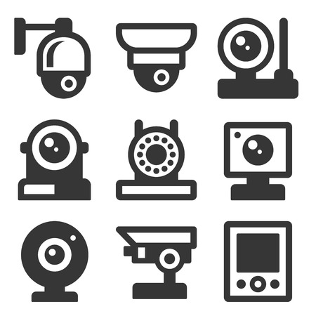 Security Camera Icons Set on White Background. Vector illustration