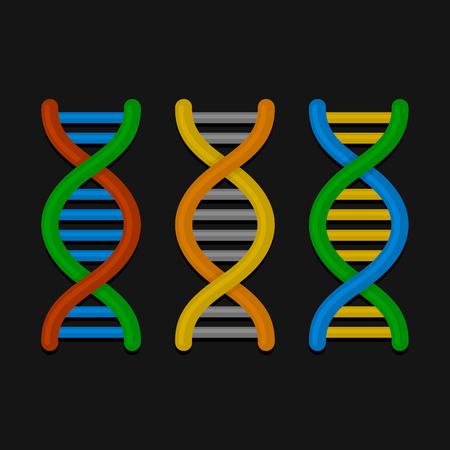 DNA or Chromosome Icons Set on Dark Background. Vector