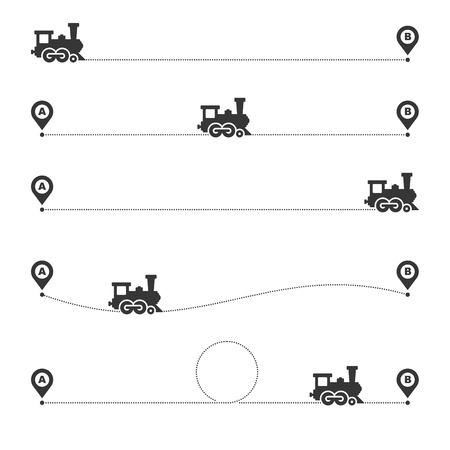 Train Dotted Route Line Set on White Background. Vector illustration Foto de archivo - 124768204