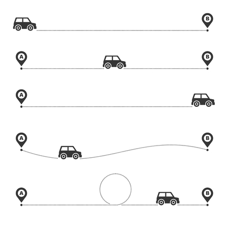 Car Vehicle Traveling Route with Location Markers. Vector illustration Çizim