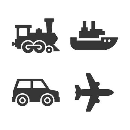 Transport Icons Set. Airplane, Train, Ship and Auto Signs. Vector