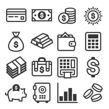 Money Icon Set on White Background. Vector illustration