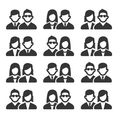 Friendship and Friend Icons Set on White Background. Vector Illustration