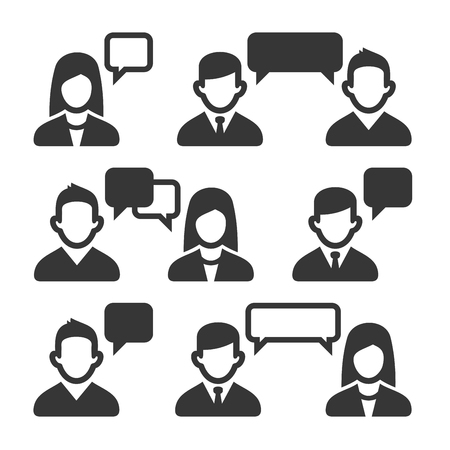 Talking and Speaking People Icons Set. Vector illustration