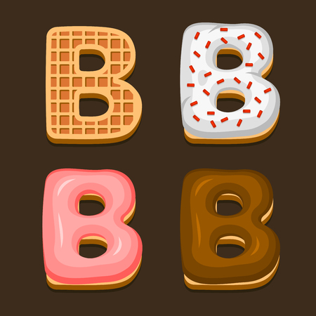 B Letter Belgium Waffles with different Toping Icon Set on Dark Background. Vector