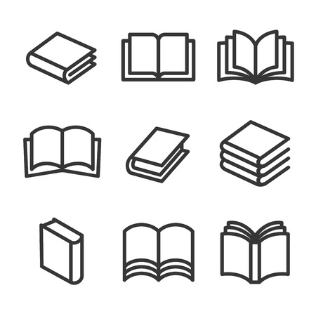 Book Line Style Icons Set on White Background. Vector