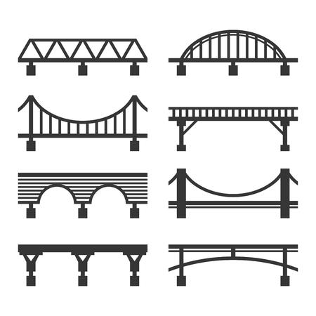 Conjunto de iconos de puente sobre fondo blanco. Ilustración vectorial