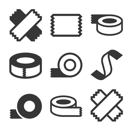 Tape Icons Set on White Background. Vector