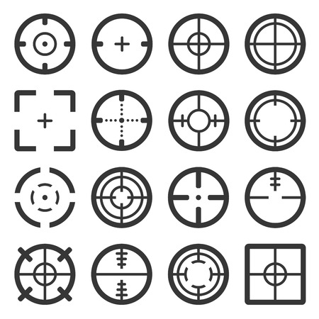 Crosshair Icons Set on White Backgound. Vector Çizim