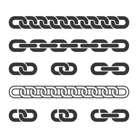 Metal Chain Parts Icons Set on White Background. Vector Illustration