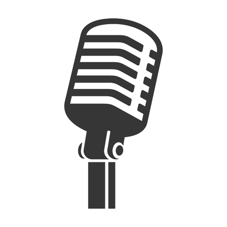 Old Style Vintage Microphone Icon on White Background. Vector illustration