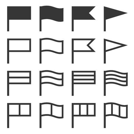 Flag Icons Set on White Background. Vector Illustration