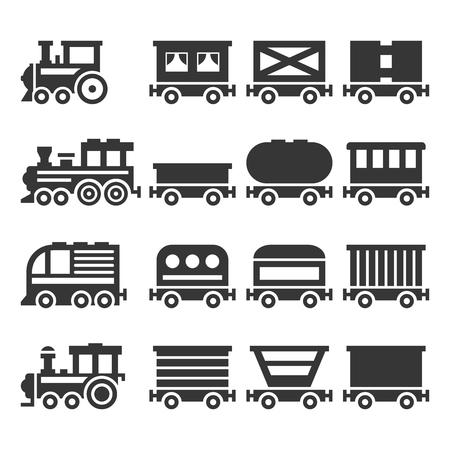 Conjunto de iconos de tren sobre fondo blanco. Vector