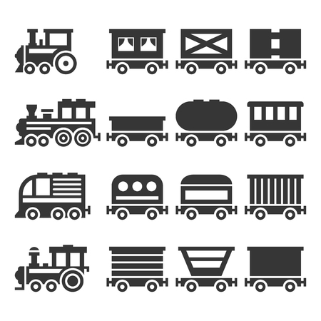 Train Icons Set on White Background. Vector